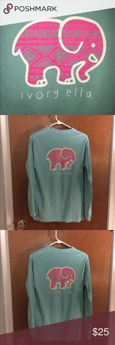 Aztec Ivory Ella Shirt Sea foam green and pink aztec print Ivory Ella shirt. Bought this last year and have only worn it 2-3 times. In mint condition, just a tad wrinkled. Let me know if you have any questions! Cheaper on Ⓜ️ercari. Vineyard Vines Tops Tees - Long Sleeve