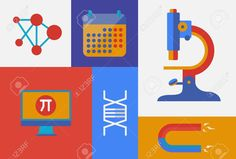 Flat Design Trendy Vector Illustration Icons On Science And ...