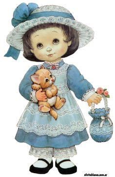 Art Image by Ruth Morehead. Cute Images, Cute Pictures, Illustration Mignonne, Sarah Kay, Holly Hobbie, Pretty Baby, Illustrations, Animals For Kids, Vintage Cards