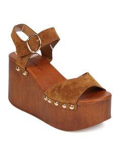 09eb561479e4 New Women Breckelles Fifi-01 Suede Ankle Strap Wooden Platform Wedge Sandal