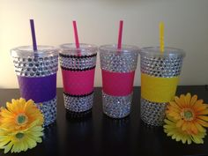 RHINESTONE BLING Tumbler Cup with Straw by SpasoDesigns on Etsy, $19.99