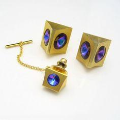 Vintage Mid Century Modernist Cufflinks Tie Tack Blue Purple Rivoli Rhinestones