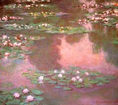 """pink water lilies."" 