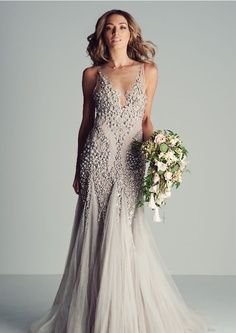 Superb Wedding Gown Grey wedding dress Zoe Beaded Lace Dress wedding dress loveitsomuch Blue wedding dress Pinterest Lace Wedding and Grey