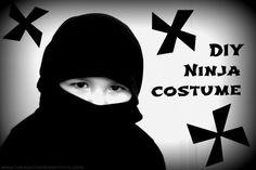 No Sew ninja costume made with a long sleve black shirt. HAha so awesome!