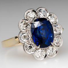 4 Carat Royal Blue GIA Sapphire Halo Ring