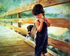 Boy Caring Stray Dog ♡... Re-pinned by StoneArtUSA.com ~ affordable custom pet memorials for everyone.