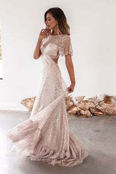 The Capri features the most exquisite rose-hued metallic lace. Shop online or book a bridal showroom appointment! Colored Wedding Dresses, Wedding Bridesmaid Dresses, Dream Wedding Dresses, Making A Wedding Dress, Gorgeous Wedding Dress, Sheath Wedding Gown, Lace Weddings, Vintage Weddings, Grace Loves Lace