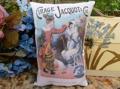 Clowns Pillow Circus Vintage Print on  10 x 8 hand by Maisonvogue, $15.00