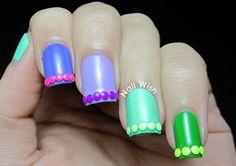 Neon Studs  by BornPrettyNails - Nail Art Gallery nailartgallery.nailsmag.com by Nails Magazine www.nailsmag.com #nailart