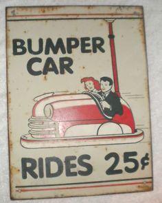 Rare Vintage Amusement Park Bumper Car Hand Painted Sign