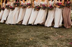 Nude Bridesmaids' Dresses::Flowers: Moss Floral Design I Photographer: A Nomadic Love