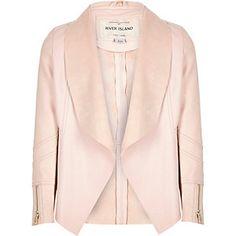 Girls light pink leather-look draped jacket