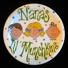 Grandparents Gift - Handpainted Plate for Grandparents - Grandkids are a blessing - great gift Pottery Painting, Ceramic Painting, Painted Ceramics, Rock Painting, Sharpie Plates, Sharpies, Sharpie Mugs, Color Me Mine, Birthday Plate