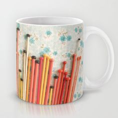 perfectly peachy finds in retrospect ~ knitting needles Mug by dottie angel - $15.00