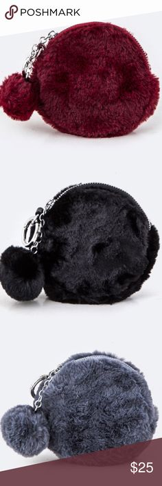The Kimmie-Pom Pom Pouch Brand New! ❕Price is Firm❕ Fur Pom Pom Round Pouch Available in Burgandy, Black, and Grey Approximate Length  5.5 inches Approximate Width 1.5 inches Approximate Height  5.5 inches MAde of Faux Fur Includes Shoulder Chain & Faux Fur Pom Pom Lead & Nickel Compliant faith & sparkle Bags Mini Bags