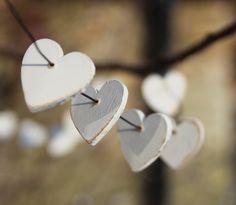Heart Garland - Little Wooden, Painted Hearts -