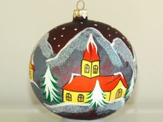 Christmas ornament LARGE hand painted hand made by aniamelisa, $18.50