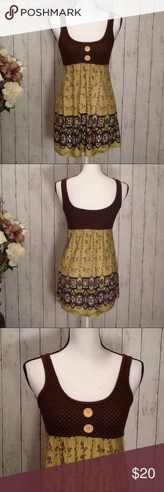 "⚡️SALE Summer Top by Girls Fresh Brewed Size Small Super cute and stylish longer style top by ""Girls Fresh Brewed"", size Small, juniors, like-new condition, may possibly be able to wear as a short dress too, beautiful patterns and colors of browns, blues, greens, reds, super cute babydoll style, perfect for spring and summer, approx measurements: length from top of arm pit to bottom 22 in, front top of sleeve to bottom 29 in, bust 34 in, waist 26-28, hip 36-38. Bundle to save! Girls Fresh…"