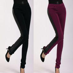Good Quality Lady Skinny Pencil Pants Plus Size L-5XL Leather Patchwork Design Autumn Women Black & Red Stretch Trousers C3261