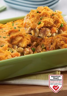 Turkey Shepherds Pie with Sweet Potato Topping — This delicious twist on a comfort classic is made with ground turkey, vegetables, cream of chicken soup, and a savory sweet potato topping. Heart-Check Certification does not apply to recipes or information reached through links unless expressly stated.