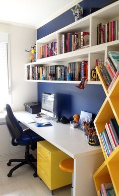 38 Colorful Home Office Design Ideas You Will Totally Love Home Office Organization, Home Office Desks, Office Decor, Office Ideas, Office Table, Study Room Design, Awesome Bedrooms, Design Case, House