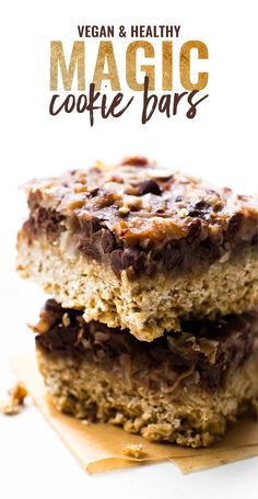 These easy Vegan Magic Cookie Bars are healthier made without sweetened condensed but still all the same delicious dessert layers! Vegan, gluten-free, paleo option.