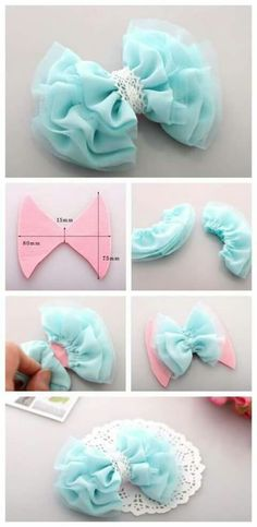 42 New ideas craft baby diy projects Tulle Bows, Tulle Fabric, Fabric Flowers, Diy Flowers, Ribbon Flower, Tule Flowers, Fabric Flower Headbands, Fabric Hair Bows, Fabric Wreath
