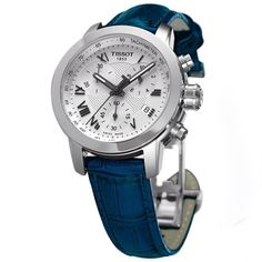A comfortable leather strap in a rich, electric blue adds ease to this handsome watch from Tissot. Three chronograph functions, luminescent markers and a textured dial completes the look of this sophisticated timepiece.