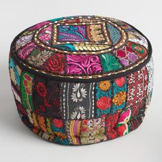 Black Suti floor pouf from World Market -Made of vibrant recycled fabrics with embellishments and Indian patchwork, our exclusive pouf is a brilliant extra seating solution. This portable pouf adds color and comfort to any room. Floor Pillows And Poufs, Floor Pouf, Throw Cushions, Floor Cushion Couch, Moroccan Floor Pillows, Diy Pillows, Throw Pillow, Pouf Ottoman, Ottoman Cover