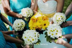 all yellow bridal bouqet with simple daisy bridesmaid bouquets. Designed by Renee's Bokays