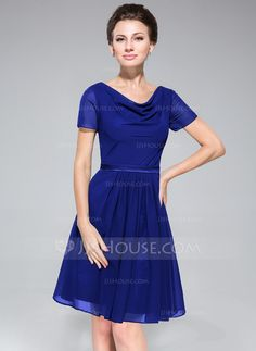 A-Line Princess Cowl Neck Knee-Length Chiffon Charmeuse Bridesmaid Dress  With Ruffle. Party Dresses ... af0373918a1b