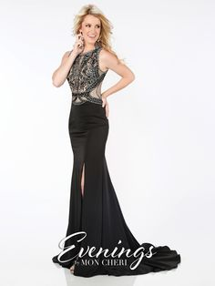 Evenings - MCE11655 - Sleeveless satin fit and flare gown with jewel neckline, hand-beaded illusion bodice, beaded illusion back, side slit, sweep train.Sizes: 0 – 16Colors: Black, Red