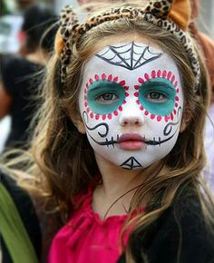 """we want to talk about Halloween Kids Makeup Ideas, So those who want to make their cute kids ready for a Halloween party must watch out full article. So checkout Cute Halloween Kids Makeup Ideas To Try This Year"""" Face Painting Halloween Kids, Halloween Makeup For Kids, Kids Skeleton Face Paint, Halloween Party, Halloween Facepaint Kids, Halloween Ideas, Sugar Skull Halloween, Pretty Halloween, Sugar Skull Face Paint"""