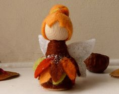 Autumn Fairy Gnome, nature table decoration, peg doll gnome with wool felt