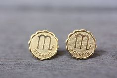 Gold Astrology Studs  Scorpio by diamentdesigns on Etsy