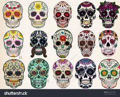 Sugar skulls set, Day of the Dead, Halloween Bundle