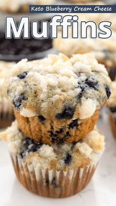 """A low carb, keto blueberry cream cheese muffins recipe that's more like mini cheesecakes. It's a great keto friendly snack!"" Keto Blueberry Cream Cheese Muffins - You must try this recipe. #keto #ketodiet #ketorecipes #ketogenic #ketogenicdiet #ketogenicrecipes #lowcarb #lowcarbrecipes"