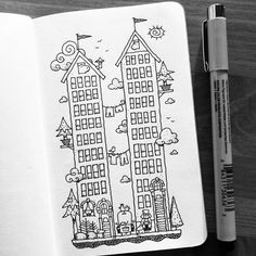 Dave Garbot — Tall Houses #illustration #drawing #penandink...
