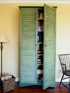 RePurpose: Shutters and an inexpensive bookself unit to a storage cabinet.