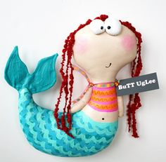 Mermaid Named Gwyn . by buttuglee on Etsy Sock Dolls, Doll Toys, Mermaid Names, Diy And Crafts, Arts And Crafts, Mermaid Dolls, Sewing Toys, Animal Pillows, Toddler Toys