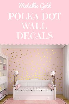 Shimmering, Shiny, Sparkly, Metallic Gold Dots... perfect for a little girl's room, nursery.. or just a super fun design! Love how happy and fun it makes you feel just by looking at it! These wall decals are an affordable DIY way to decorate on a budget. #Decals #DiyHomeDecor #Etsy #Affordable #affiliate #HomeDecor #NurseryDecor #NurseryArt #LivingRoomDecor #HomeDecorIdeas
