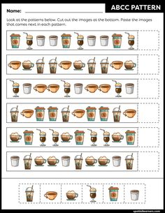 These FREE printable worksheets for kids are great for practicing spatial concepts! These patterns worksheets can be used as homework, bell-ringer activity, warm-up activity, or speech therapy work. Fun activity for your kindergarten or grade 1 students! Pre K Worksheets, Free Printable Worksheets, Printables, Pattern Worksheet, Color Switch, Vocabulary Building, Pattern Images, Preschool Activities, Work Fun