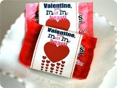 "Free printable ""Valentine You Melt My Heart"" M&M;'s wrappers"