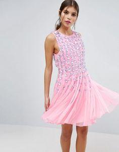 ASOS SALON Pink Floral Embellished Mesh Fit and Flare Mini Dress