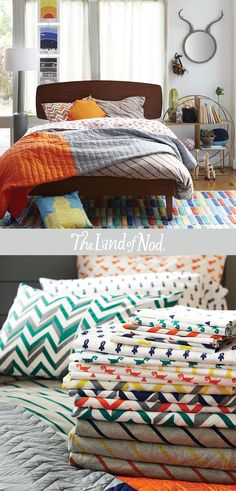 mix and match the land of nods stripped kids bedding for boys or girls