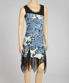 Take a look at this Blue & Black Sidetail Dress by Dzhavael Couture on #zulily today!