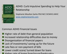 Adhd Symptoms, Managing Your Money, Money Matters, Therapy, Relationship, Ads, Healing, Relationships
