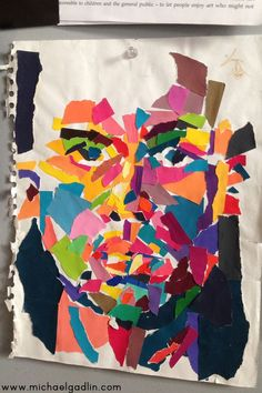 Michael Gadlin torn paper self-portrait made in his visual journal #collage #faces #visualjournalideas