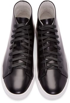 03f47c40a42 Tiger of Sweden - Black Patent Leather Yngve High-Top Sneakers Skor Sneakers,  Louis